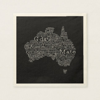 Mapa australiano del argot servilleta de papel