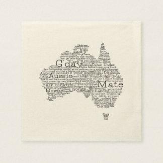 Mapa australiano del argot servilletas de papel