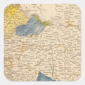 Mapa austríaco de los dominios por Arrowsmith Pegatina Cuadrada
