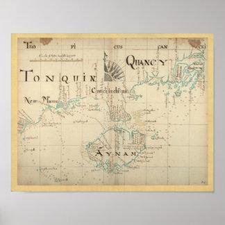 Mapa auténtico de 1690 piratas póster
