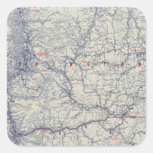 Mapa auto de los rastros del funcionario 1925 de pegatina cuadrada