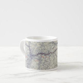 Mapa auto de los rastros del funcionario 1925 de taza espresso