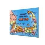 Mapa auto detallado de Cape Cod Impresión En Lienzo Estirada