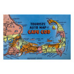 Mapa auto detallado de Cape Cod Posters
