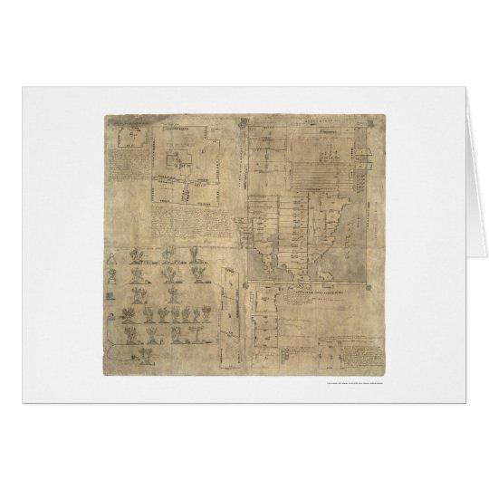 Mapa azteca 1540 de las tierras de Oztoticpac Tarjeta De Felicitación
