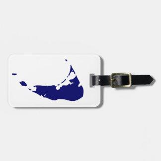 Mapa azul de la isla de Nantucket Etiquetas Para Equipaje