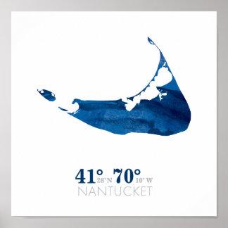 Mapa azul de Nantucket de la acuarela con Póster
