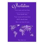 Mapa azul púrpura invitación 12,7 x 17,8 cm