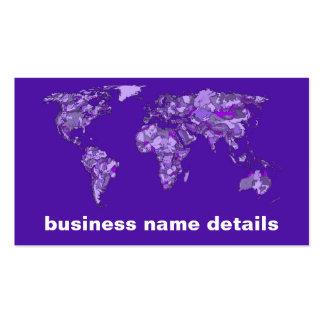 Mapa azul púrpura tarjetas de visita