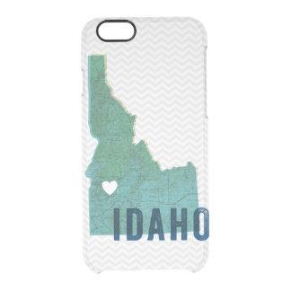 Mapa azul topográfico de Idaho del amor y corazón Funda Clear Para iPhone 6/6S