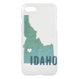 Mapa azul topográfico de Idaho del amor y corazón Funda Para iPhone 7