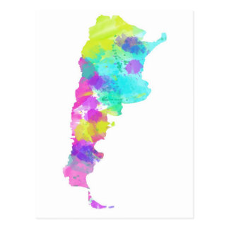 Mapa banal de la Argentina de la acuarela Tarjetas Postales