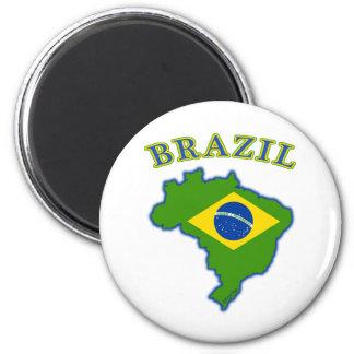 Mapa/bandera del Brasil Imán Redondo 5 Cm