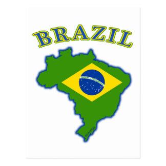 Mapa bandera del Brasil Tarjeta Postal