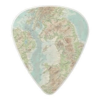 Mapa bathyorographical de las islas británicas púa de guitarra acetal