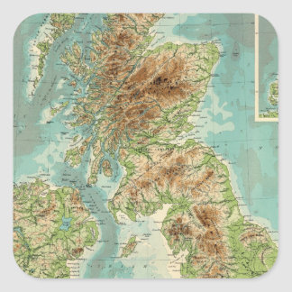 Mapa bathyorographical de las islas británicas pegatina cuadrada