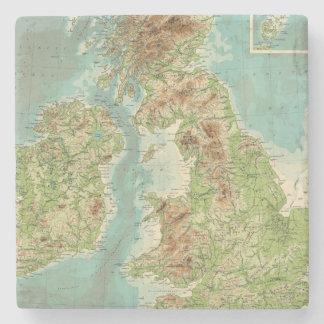 Mapa bathyorographical de las islas británicas posavasos de piedra
