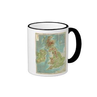 Mapa bathyorographical de las islas británicas taza de dos colores