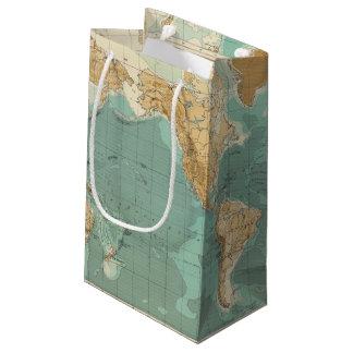 Mapa bathyorographical del mundo bolsa de regalo pequeña