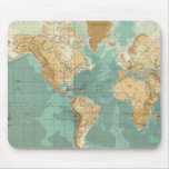 Mapa bathyorographical del mundo mousepads