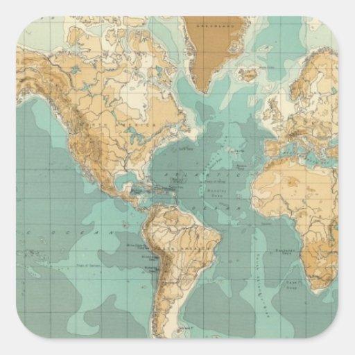Mapa bathyorographical del mundo pegatina cuadrada