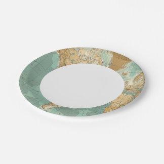 Mapa bathyorographical del mundo plato de papel de 7 pulgadas