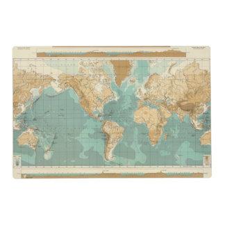 Mapa bathyorographical del mundo tapete individual