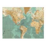 Mapa bathyorographical del mundo tarjeta postal