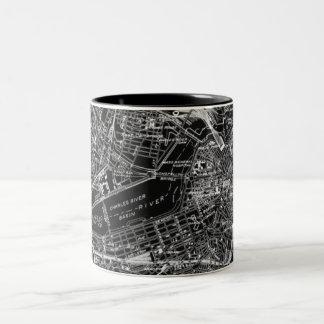 Mapa blanco y negro de Boston del vintage Taza De Dos Tonos