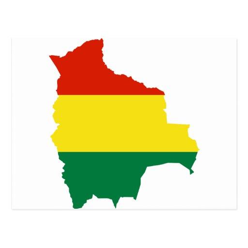 Mapa BO de la bandera de Bolivia Postal