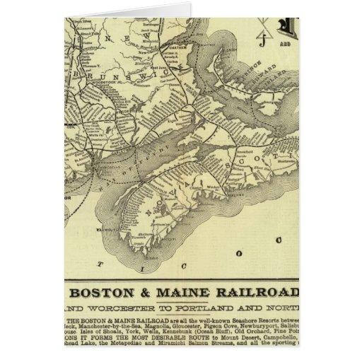 Mapa Boston y ferrocarril 2 de Maine Tarjeta De Felicitación