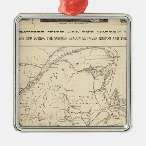 Mapa Boston y ferrocarril de Maine Ornaments Para Arbol De Navidad