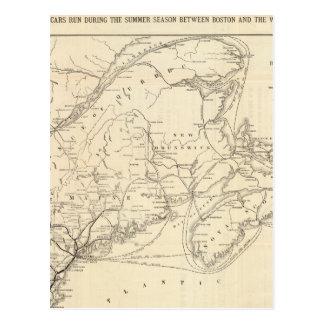 Mapa Boston y ferrocarril de Maine Tarjetas Postales