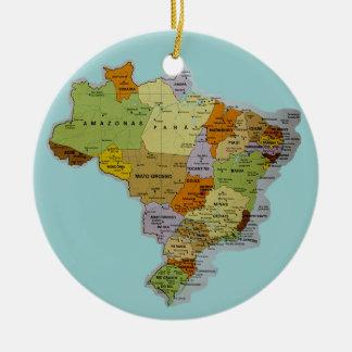 Mapa brasileño adorno redondo de cerámica