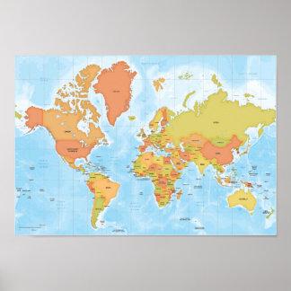 Mapa brillante del mundo póster