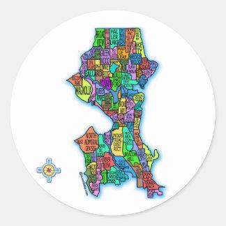 Mapa brillantemente coloreado de Seattle Pegatina Redonda