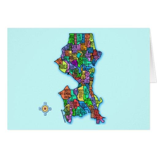 Mapa brillantemente coloreado de Seattle Tarjeta De Felicitación