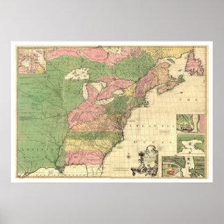 Mapa británico 1755 de América del francés Póster