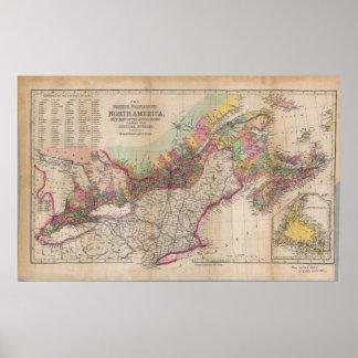 Mapa británico 1855 de Norteamérica de las Póster