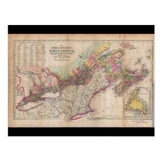 Mapa británico 1855 de Norteamérica de las Postales