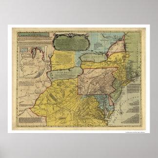 Mapa británico de América de las colonias - 1771 Póster