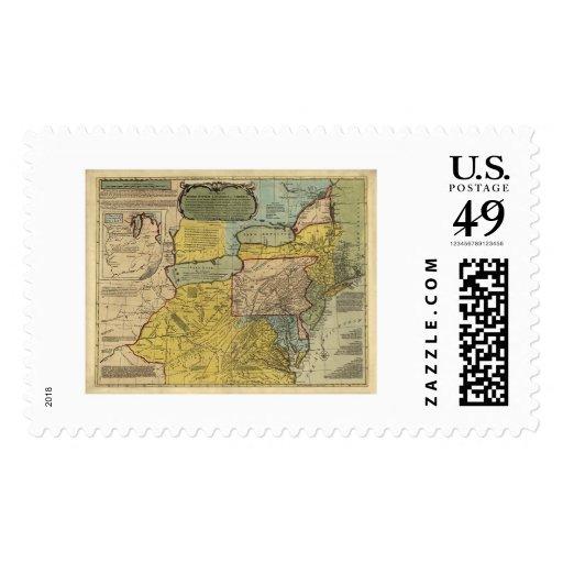 Mapa británico de América de las colonias - 1771 Sello