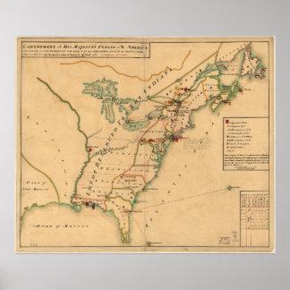 Mapa británico del empleo del vintage de América Póster