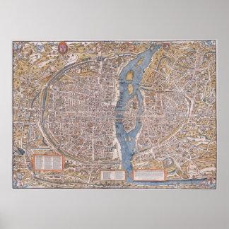 MAPA C. 1555 de PARÍS Impresiones