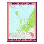 Mapa CA 1956 del vintage del pueblo NY de Southamp Tarjetas Postales