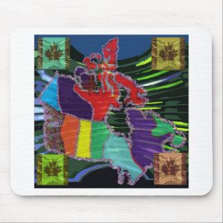 Mapa canadiense artístico y MapleLeaf Tapete De Raton