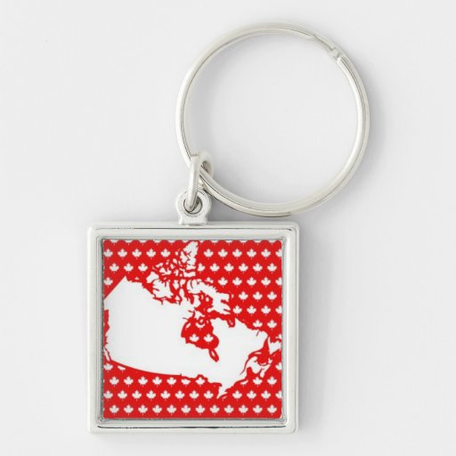 Mapa canadiense blanco en fondo rojo de la hoja de llaveros personalizados