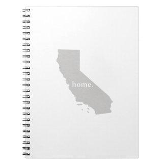 Mapa casero del estado de la silueta de California Note Book