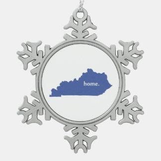 Mapa casero del estado de la silueta de Kentucky Adorno De Peltre En Forma De Copo De Nieve