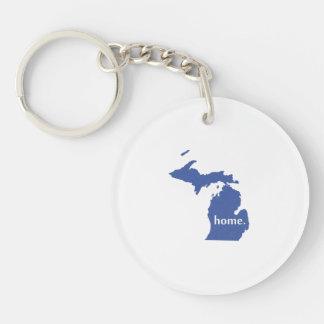 Mapa casero del estado de la silueta de Michigan Llavero Redondo Acrílico A Una Cara